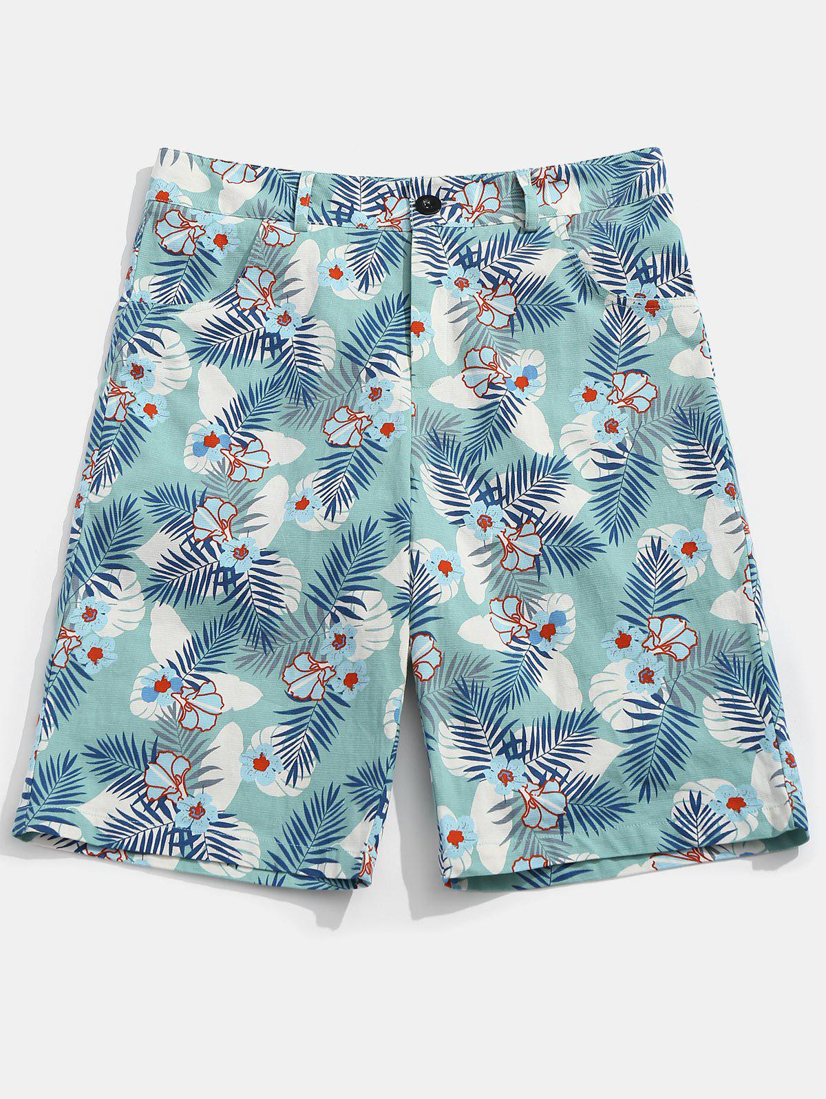 Zipper Fly Flower Leaves Print Shorts - COLORMIX XL