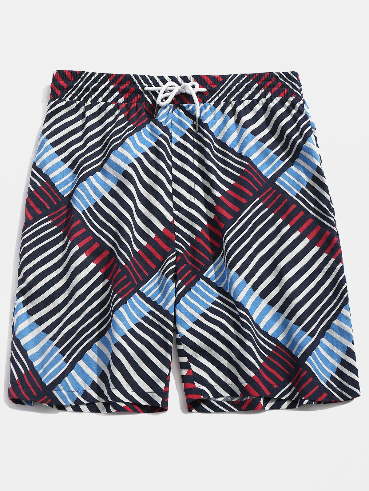 Stripe Print Drawstring Board Shorts - COLORMIX XL