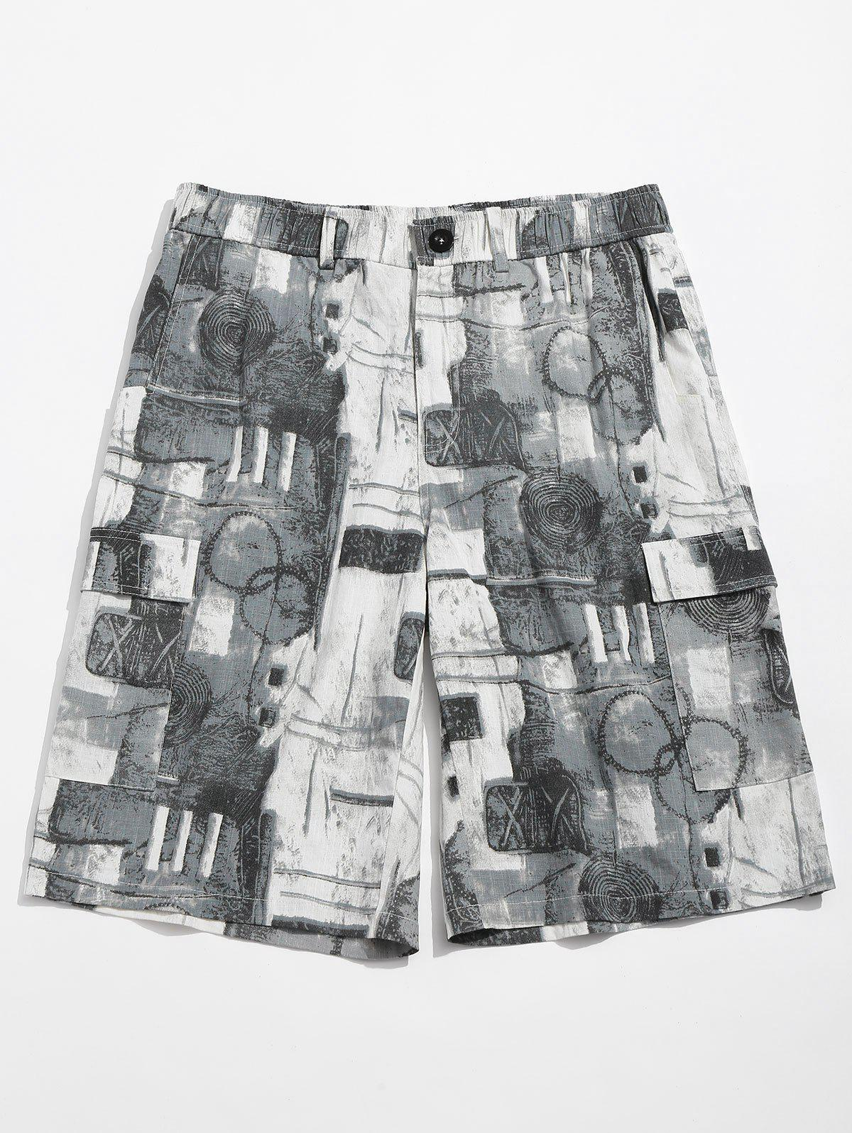 Old Annual Ring Print Casual Shorts - BLUE GRAY L