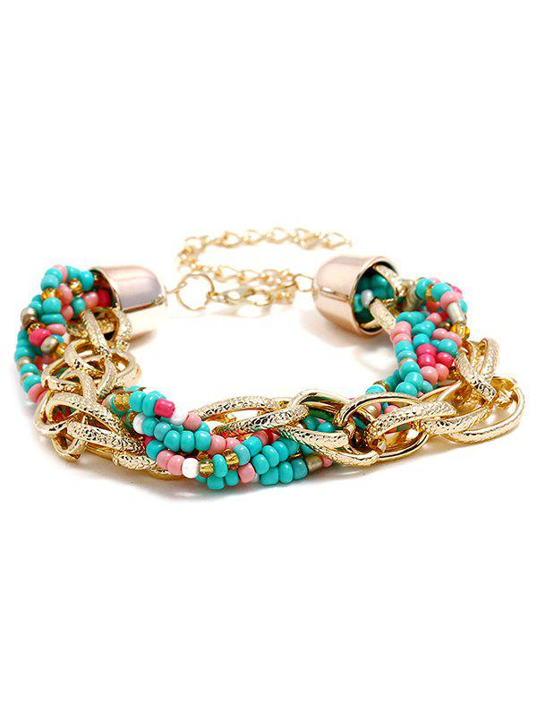 Bohemian Style Beaded Knitted Bracelet - multicolor