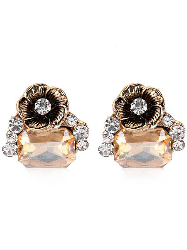 Pair of Faux Gem Floral Decorative Stud Earrings faux opal geometric earrings