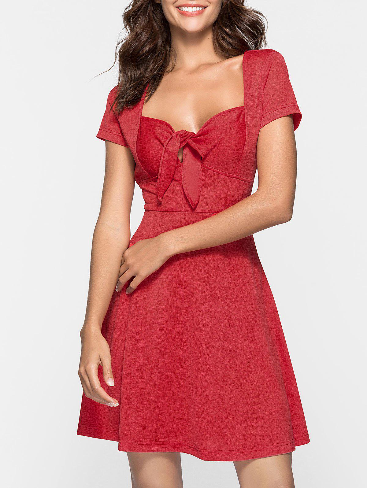 Sweetheart Neck Skater Dress - RED S