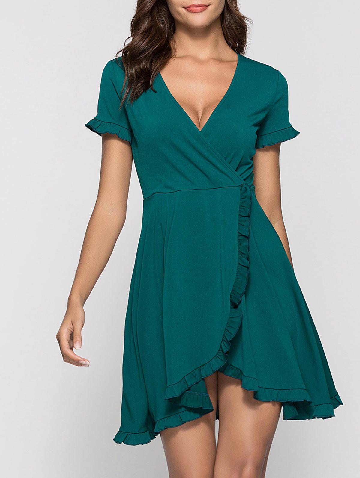Ruffle Mini Surplice Dress - MEDIUM SEA GREEN S