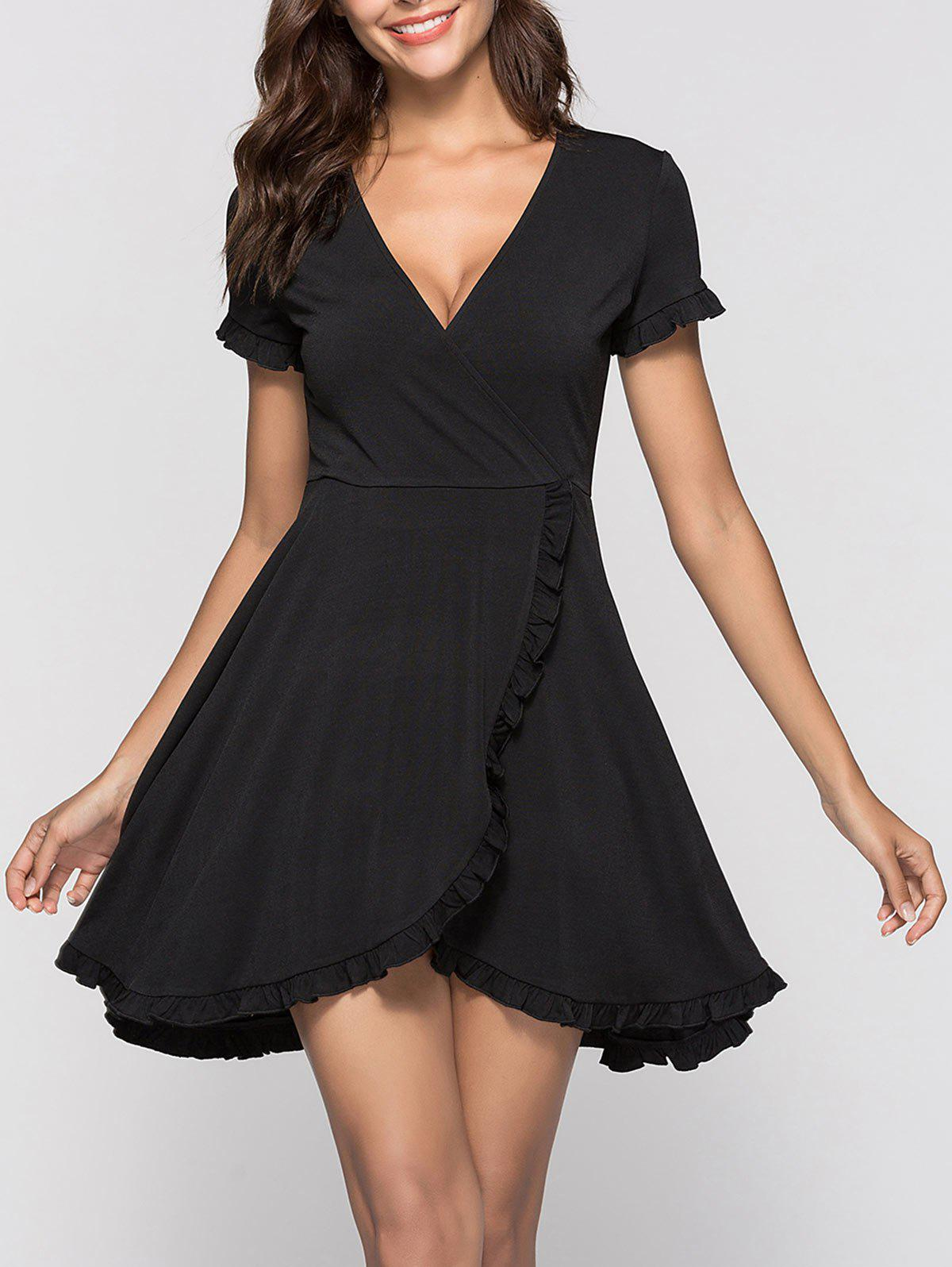 Mini Robe Surplis à Volant - Noir S