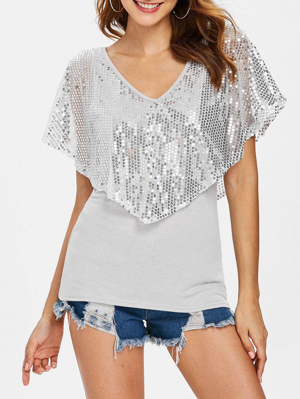 Sequin Plunging Neck Overlay T-shirt sequin mesh overlay front fitted