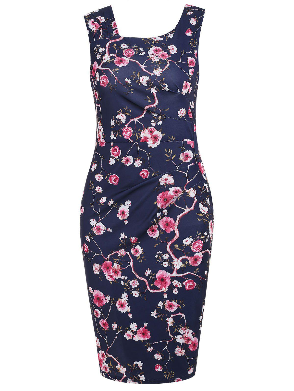 Ruched Print Bodycon Dress pmd c05