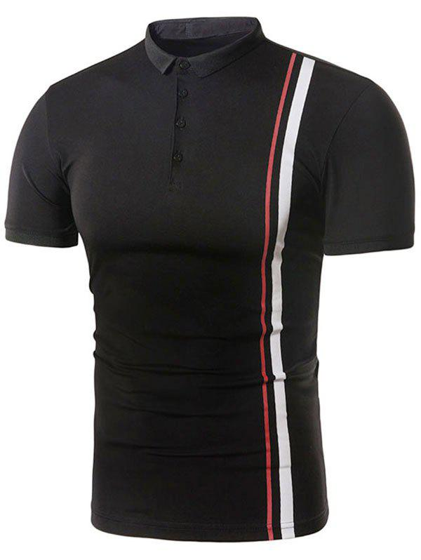 Vertical Striped Color Block Polo T-shirt striped color block polo shirt