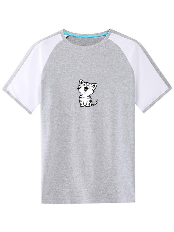 Casual Cat Print Ringer Tee