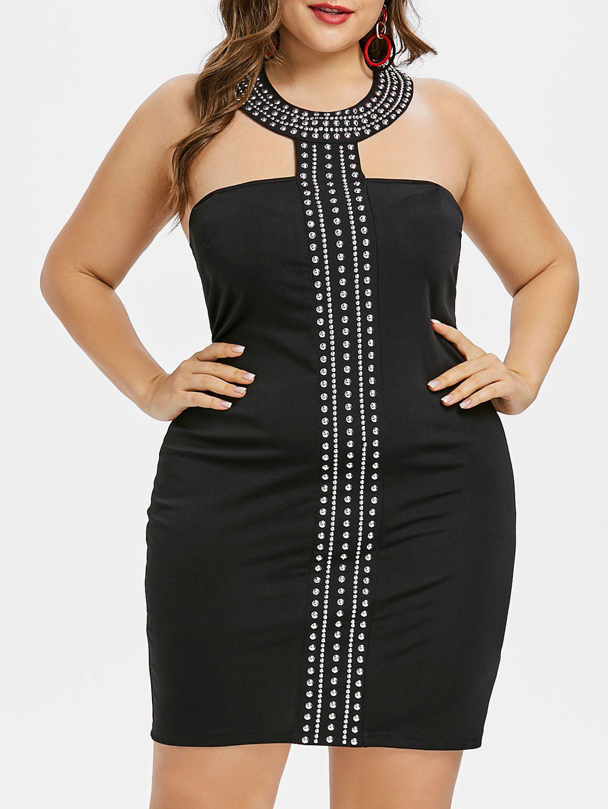 Plus Size Rhinestone Insert Bodycon Dress - BLACK 1X