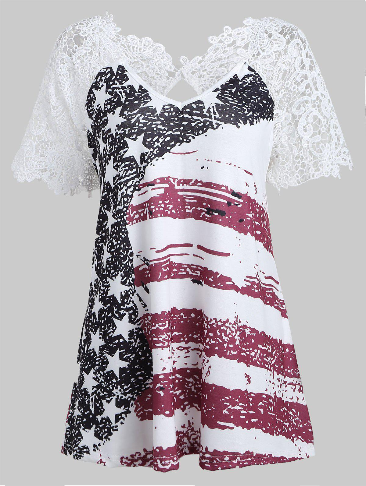Back Cut Out American Flag T-shirt - PLUM VELVET 2XL