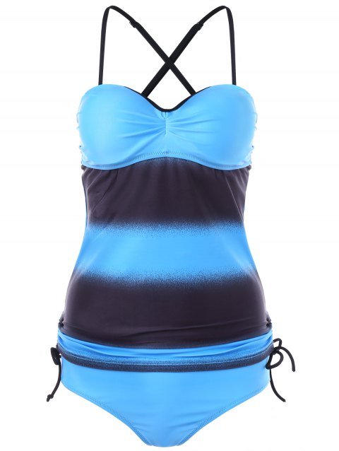 Criss Cross Side Ruched Tankini Set - SKY BLUE XL