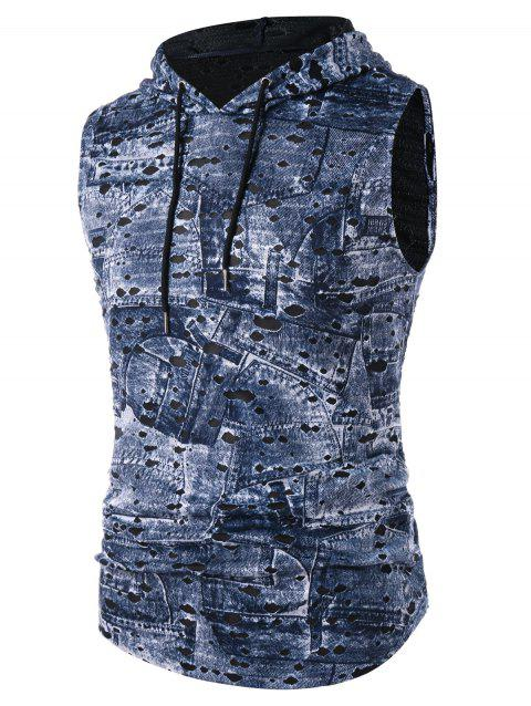 Hooded Destroyed Printed Breathable Tank Top - SLATE BLUE M