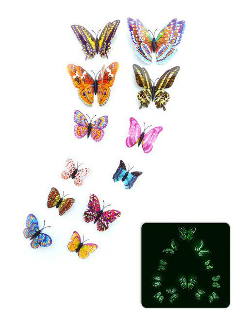 12Pcs/Set Glow in the Dark 3D Butterfly PVC DIY Wall Sticker - multicolor