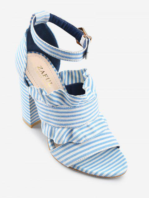 Striped Ruffless High Heel Ankle Strap Sandals - SEA BLUE 36