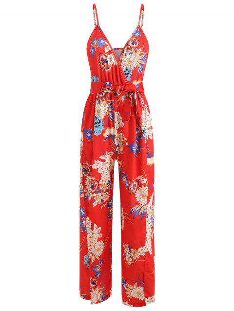 Floral Wrap Slit Belted Palazzo Jumpsuit - LAVA RED XL