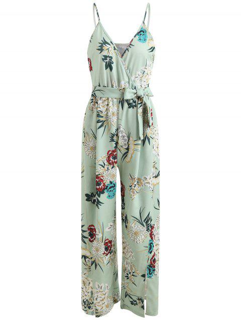 Floral Wrap Slit Belted Palazzo Jumpsuit - GREEN THUMB XL