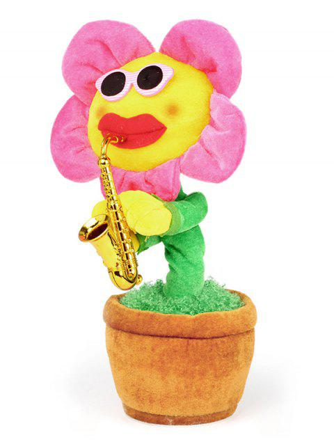 Saxophone Singing Dancing Simulation Electric Bluetooth Sun Flower Plush Toy - ROSE RED
