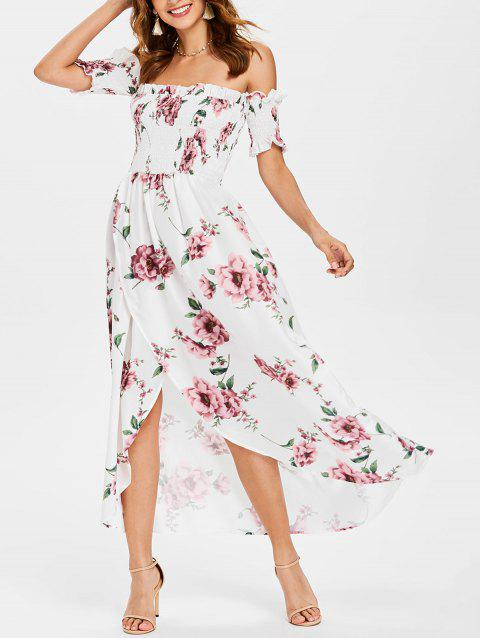 Ruffle Hemline Off The Shoulder Floral Dress - multicolor XL