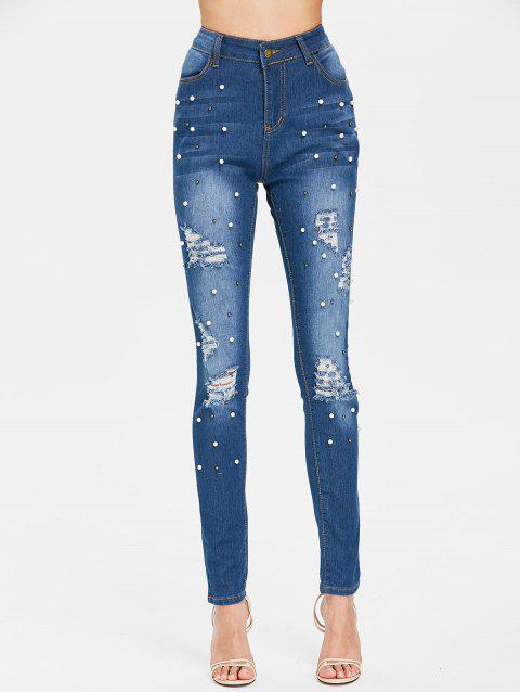 High Waisted Beaded Distressed Jeans - JEANS BLUE L