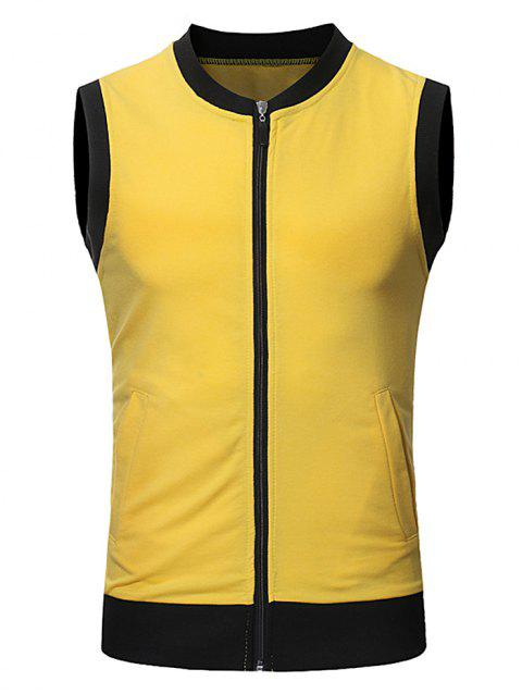 Pocket Full Zip Color Block Summer Causal Vest - YELLOW S
