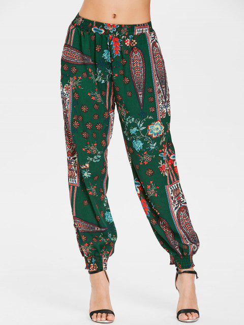 Bohemian Ethnic Printed Harem Pants - MEDIUM FOREST GREEN 2XL