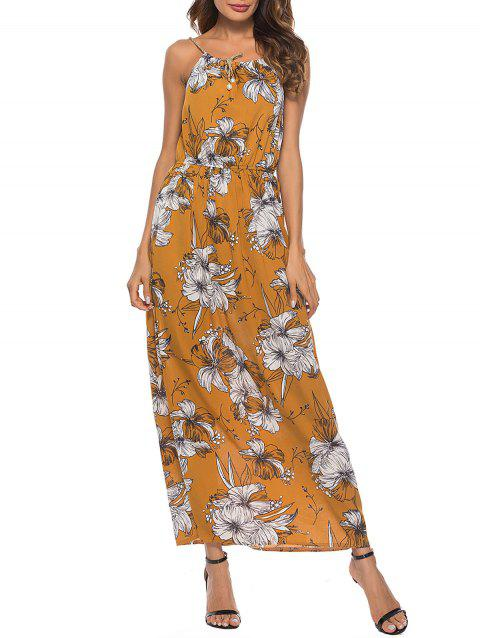 Floral Print Spaghetti Strap Beach Longline Dress - SCHOOL BUS YELLOW XL