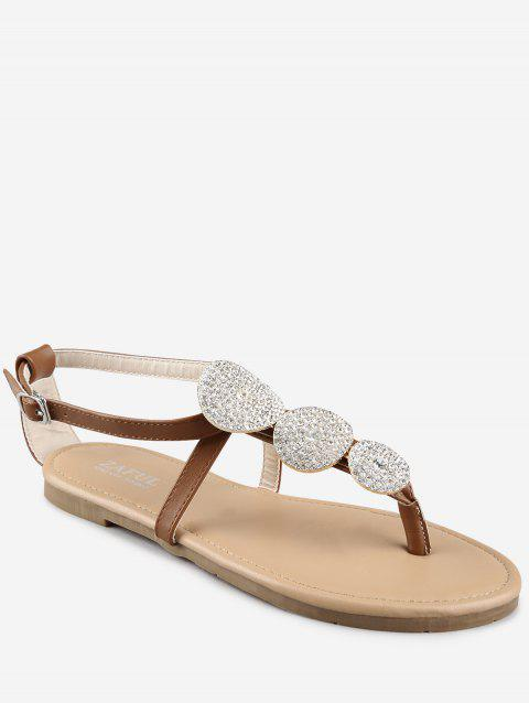 Buckle Strap Rhinestone Flat Heel Thong Sandals - LIGHT BROWN 39