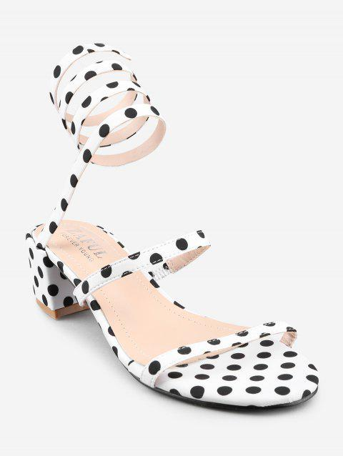 Polka Dot Ankle Strap Block Heel Sandals - WHITE 36