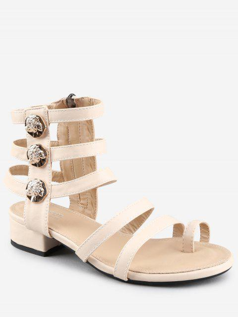 Low Heel Gladiator Strappy Thong Sandals - WARM WHITE 37