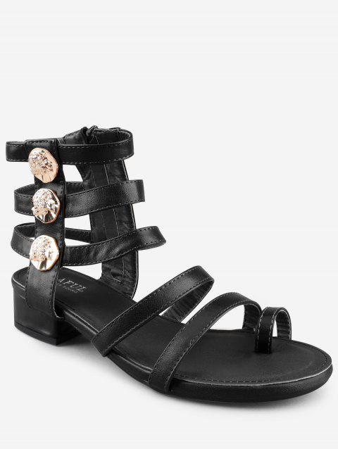Low Heel Gladiator Strappy Thong Sandals - BLACK 37