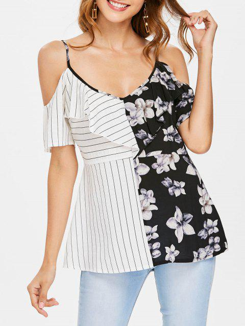 Striped and Floral Printed Open Shoulder Blouse - multicolor L