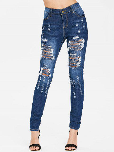 High Waisted Distressed Jeans - DEEP BLUE M