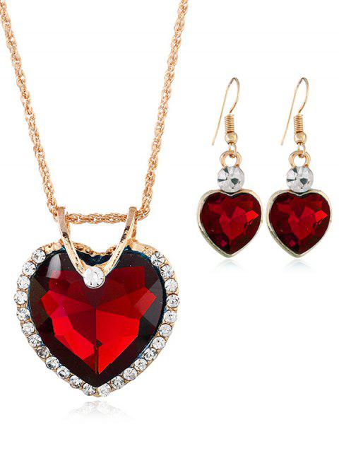 Vintage Rhinestone Inlaid Crystal Heart Jewelry Set - RED
