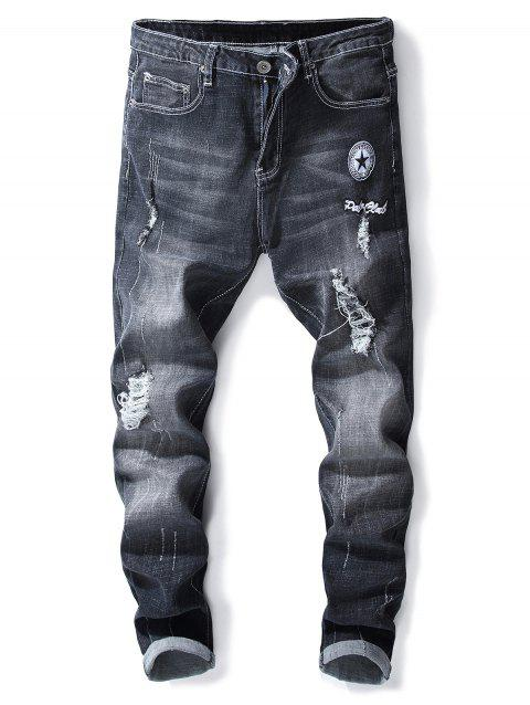 Ripped Letter Applique Zipper Fly Jeans - BLACK 40