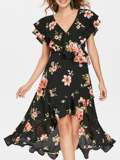 Ruffle High Low Maxi Dress - BLACK XL