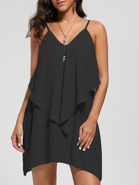 Overlay Flowy Mini Slip Dress - BLACK XL