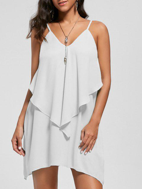 Overlay Flowy Mini Slip Dress - WHITE L