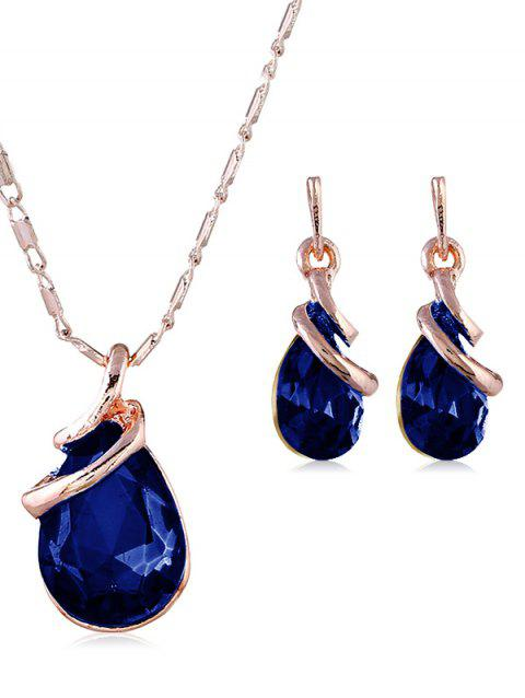 Faux Gem Inlaid Necklace and Earrings Jewelry Set - ROYAL BLUE