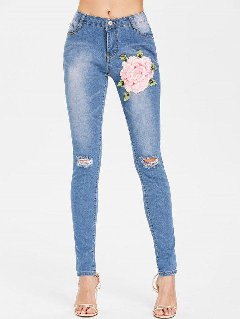 Embroidered Applique Distressed Jeans - JEANS BLUE M
