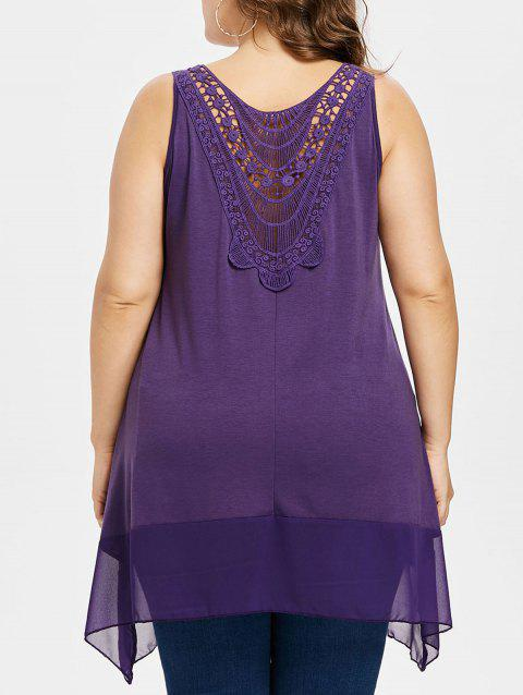 Plus Size Lace Crescent Hem Tank Top - PURPLE 4X