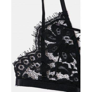 Eyelash Lace Bralette Set - BLACK 2XL