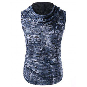 Hooded Destroyed Printed Breathable Tank Top - SLATE BLUE L