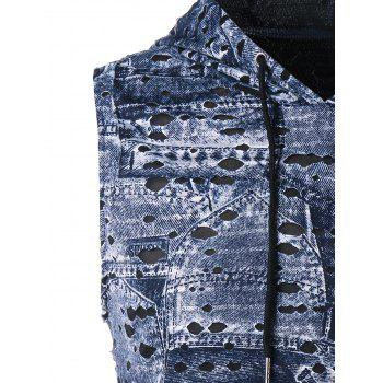 Hooded Destroyed Printed Breathable Tank Top - SLATE BLUE XL