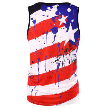 USA Flag Paint Splash Print Tank Top - FIRE ENGINE RED M