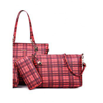 Plaid Pattern 5 Pieces Commuter Bags - RED