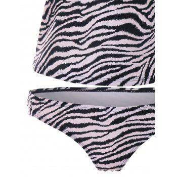 Zebra Stripe Printed Backless Tankini - multicolor S