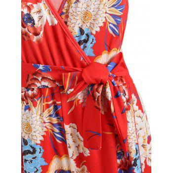 Floral Wrap Slit Belted Palazzo Jumpsuit - LAVA RED M