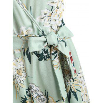 Floral Wrap Slit Belted Palazzo Jumpsuit - GREEN THUMB M