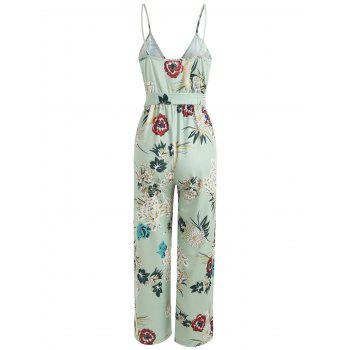 Floral Wrap Slit Belted Palazzo Jumpsuit - GREEN THUMB L