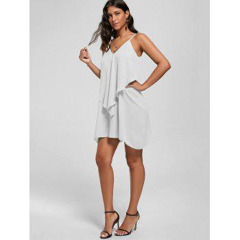 Overlay Flowy Mini Slip Dress - WHITE M
